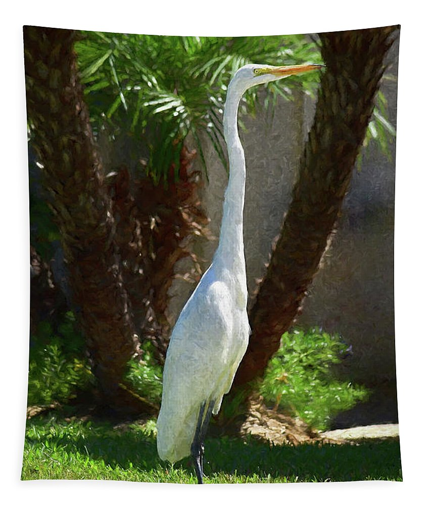 Linda Brody Tapestry featuring the digital art Great Egret Just Strutting Impressionism 1 by Linda Brody