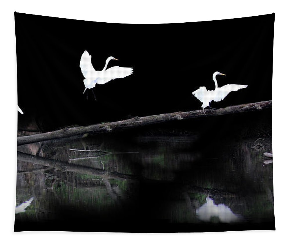 Egret Tapestry featuring the photograph Great Egret Montage by Karen Adams