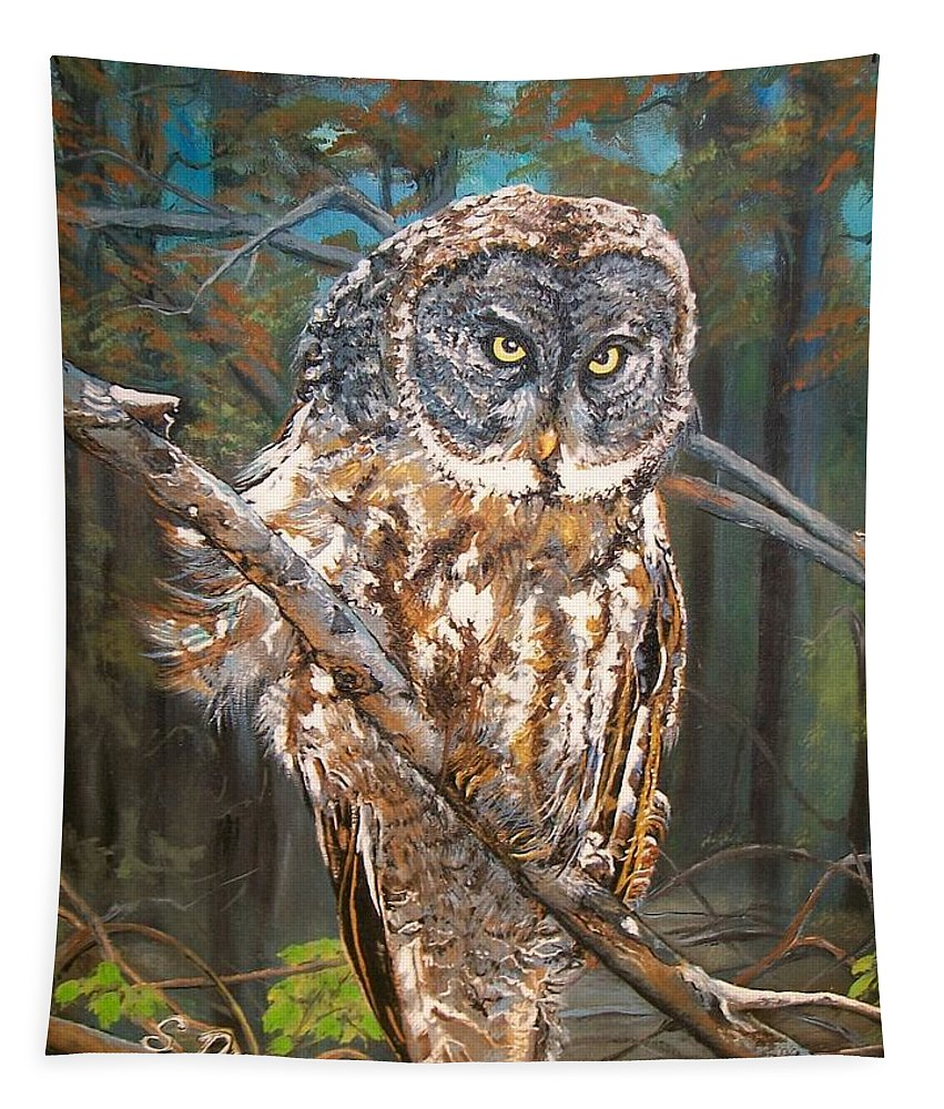 Tags Tapestry featuring the painting Great Grey Owl 2 by Sharon Duguay
