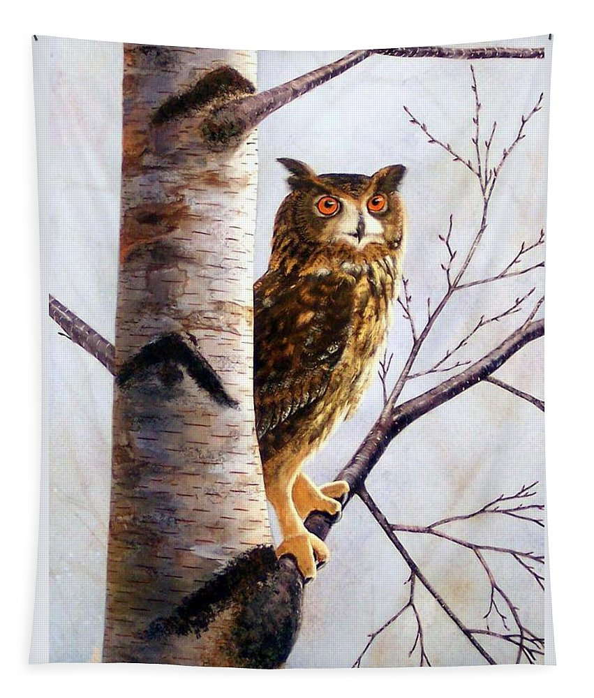 Great Horned Owl In Birch Tapestry featuring the painting Great Horned Owl In Birch by Frank Wilson