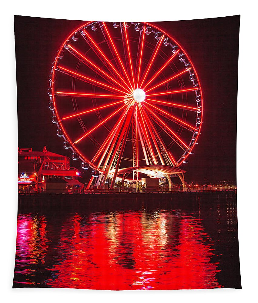 Seattle Tapestry featuring the photograph Great Wheel 191 by Mike Penney
