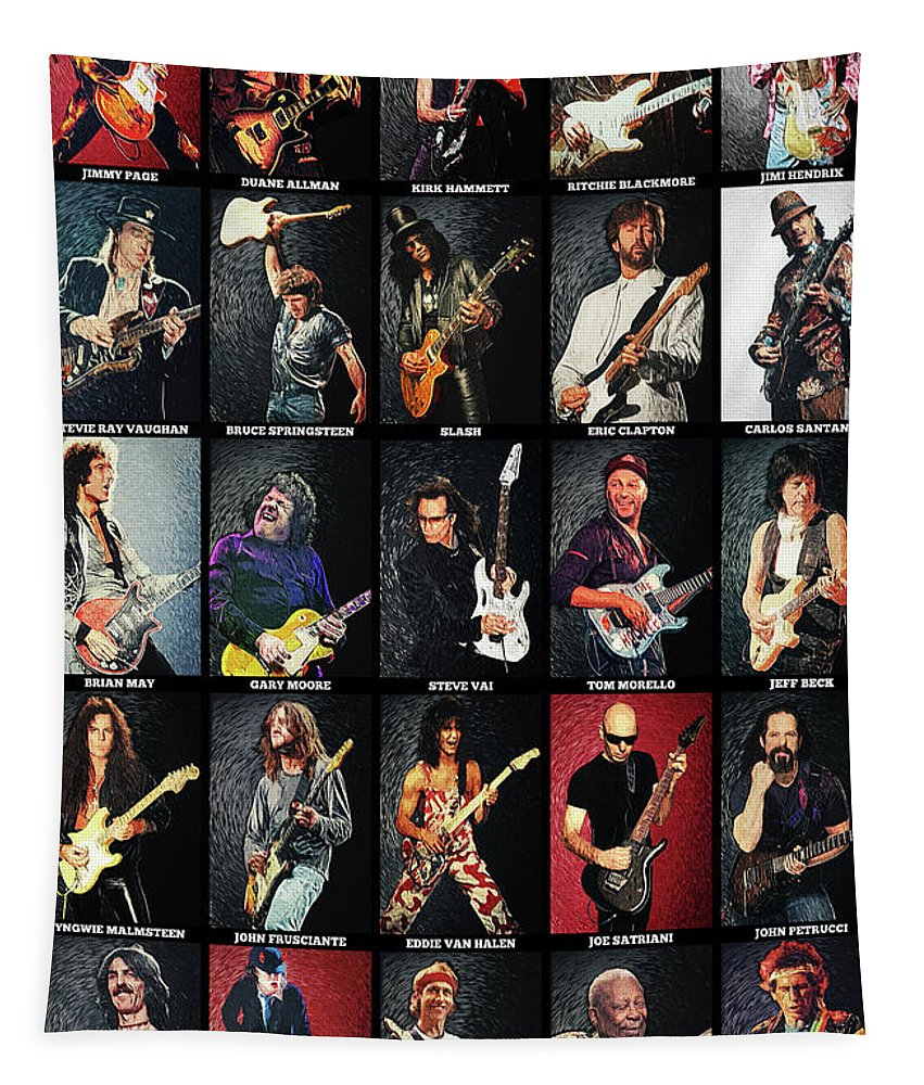 Guitar Tapestry featuring the digital art Greatest Guitarists Of All Time by Zapista OU