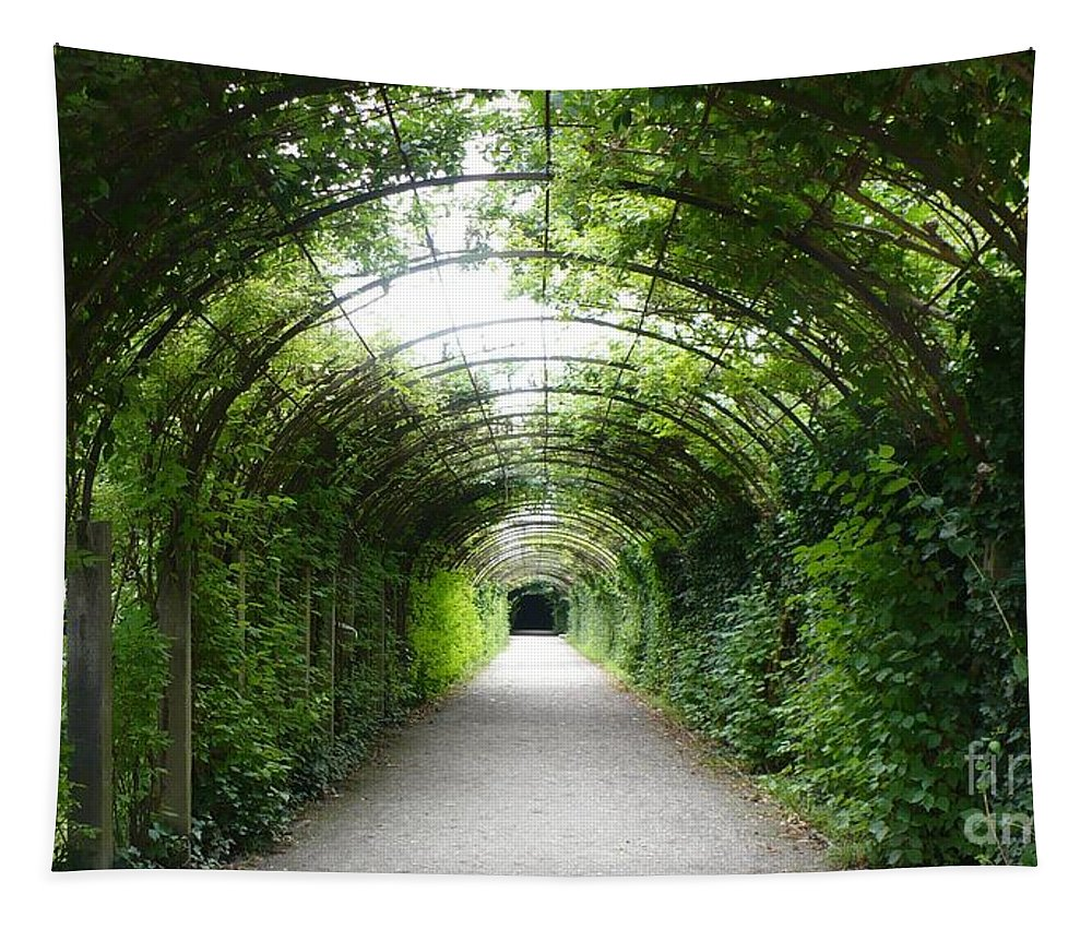 Arbor Tapestry featuring the photograph Green Arbor Of Mirabell Garden by Carol Groenen