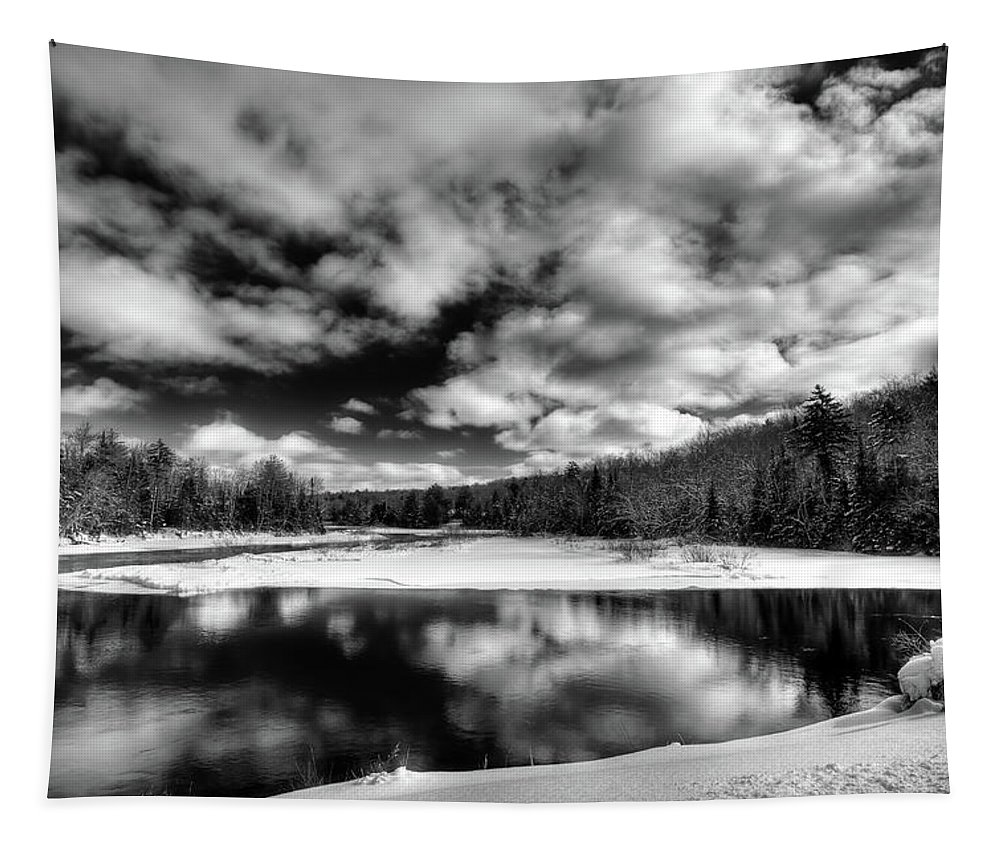 Winter Clouds Tapestry featuring the photograph Green Bridge Solitude by David Patterson