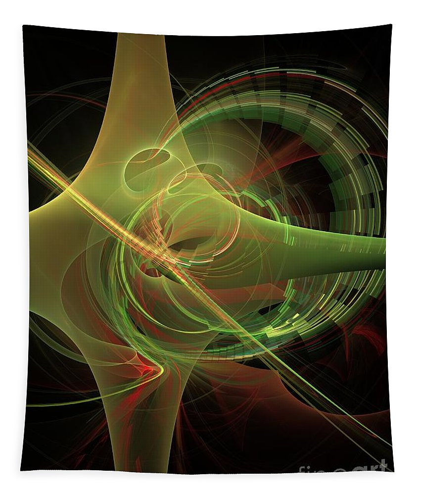 Tapestry featuring the digital art Green Energy Tunnel by Deborah Benoit