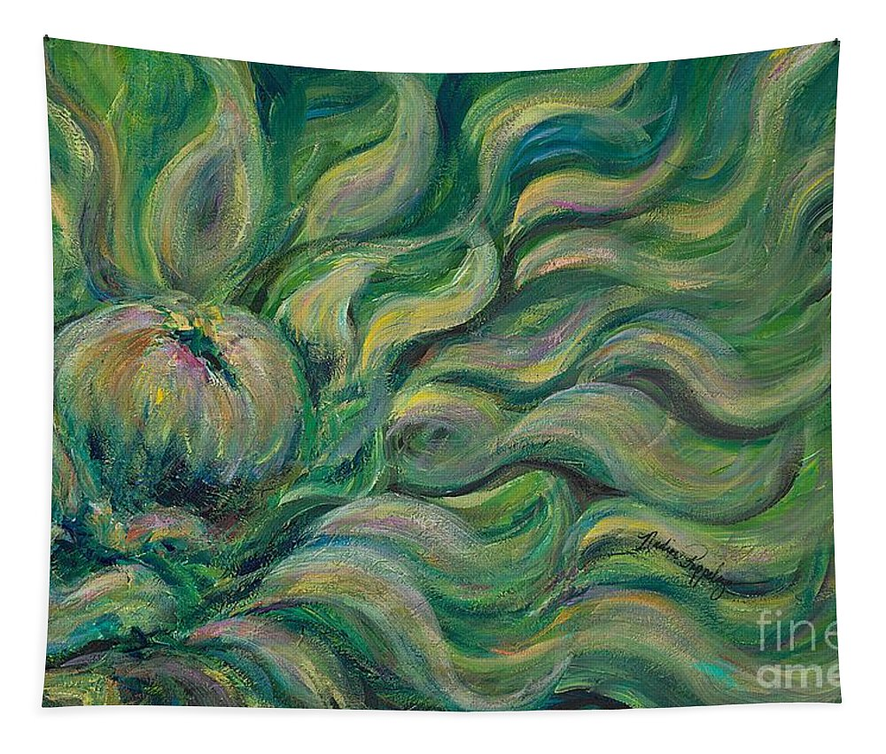 Green Tapestry featuring the painting Green Flowing Flower by Nadine Rippelmeyer