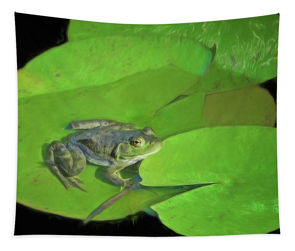 Green Frog Tapestry featuring the photograph Green Frog by Nikolyn McDonald