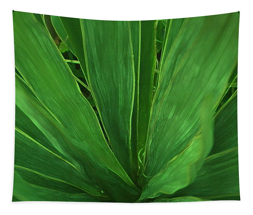 Green Plant Tapestry featuring the photograph Green Glow by Linda Sannuti