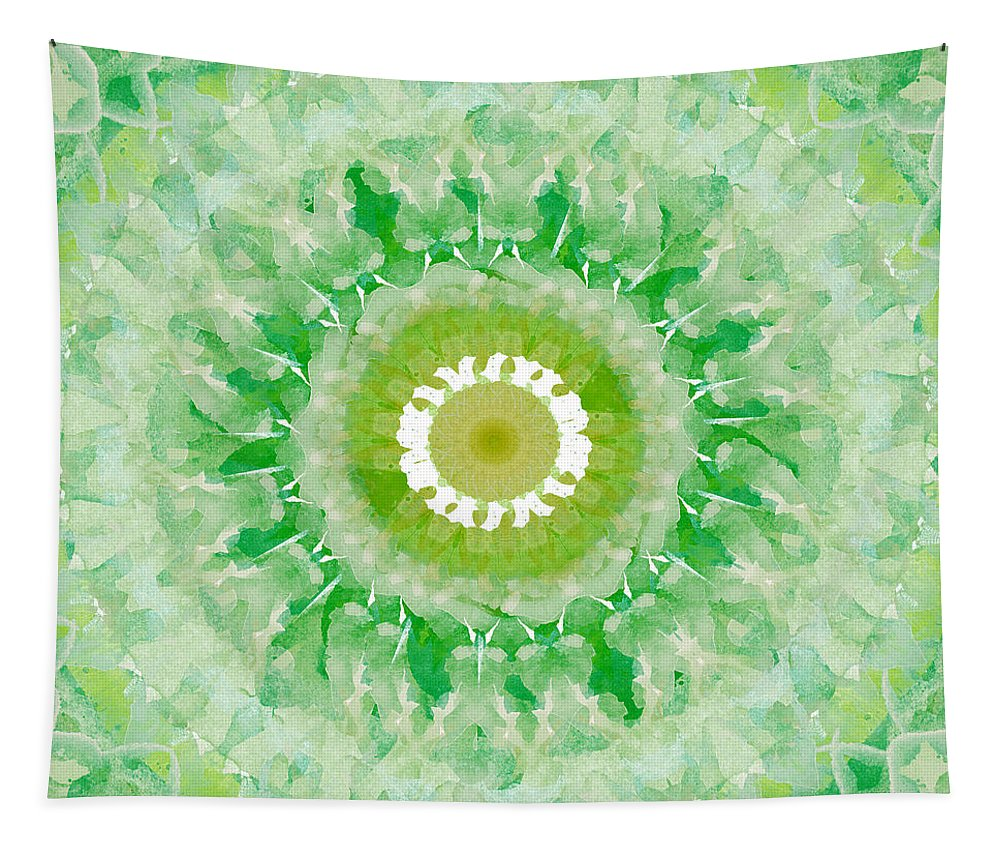 Green Tapestry featuring the painting Green Mandala- Abstract Art By Linda Woods by Linda Woods