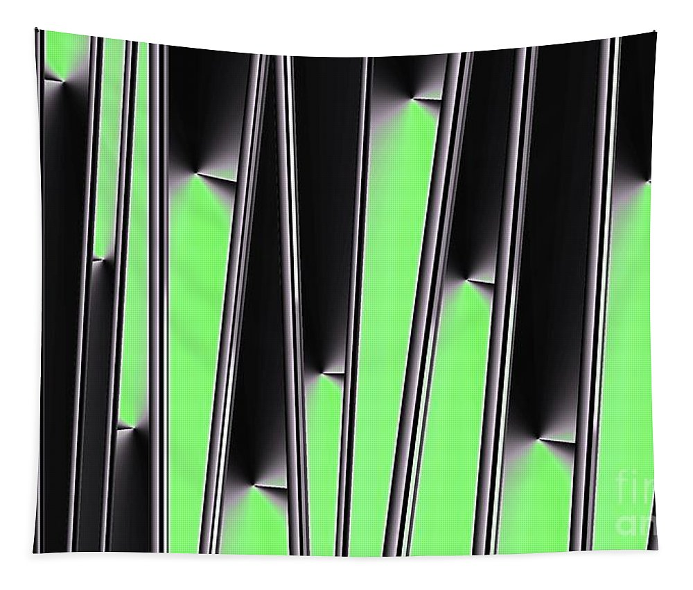 Gradient Tapestry featuring the digital art Green on Black by Ron Bissett