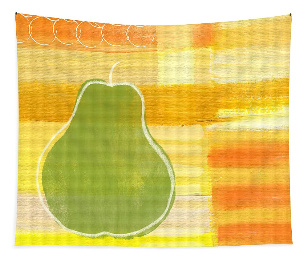 Pear Tapestry featuring the painting Green Pear- Art by Linda Woods by Linda Woods
