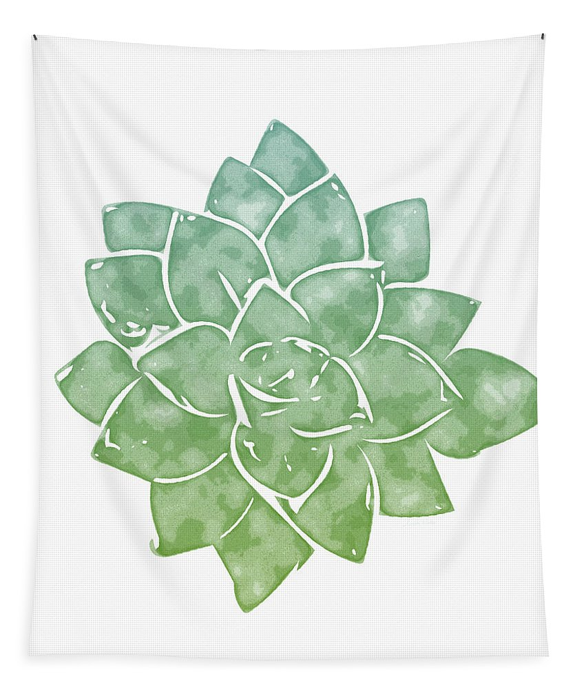 Succulent Tapestry featuring the mixed media Green Succulent 1- Art By Linda Woods by Linda Woods