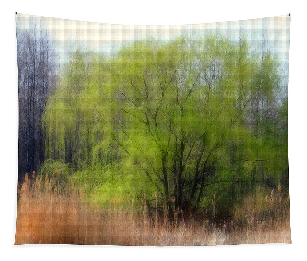 Scenic Art Tapestry featuring the photograph Green Tree by Linda Sannuti