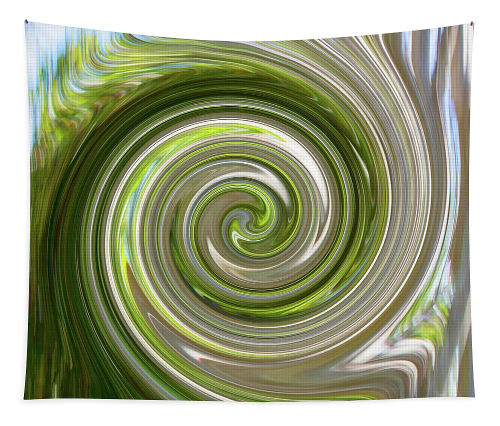 Digital Canvas Tapestry featuring the digital art Green Twirl by Gene Norris