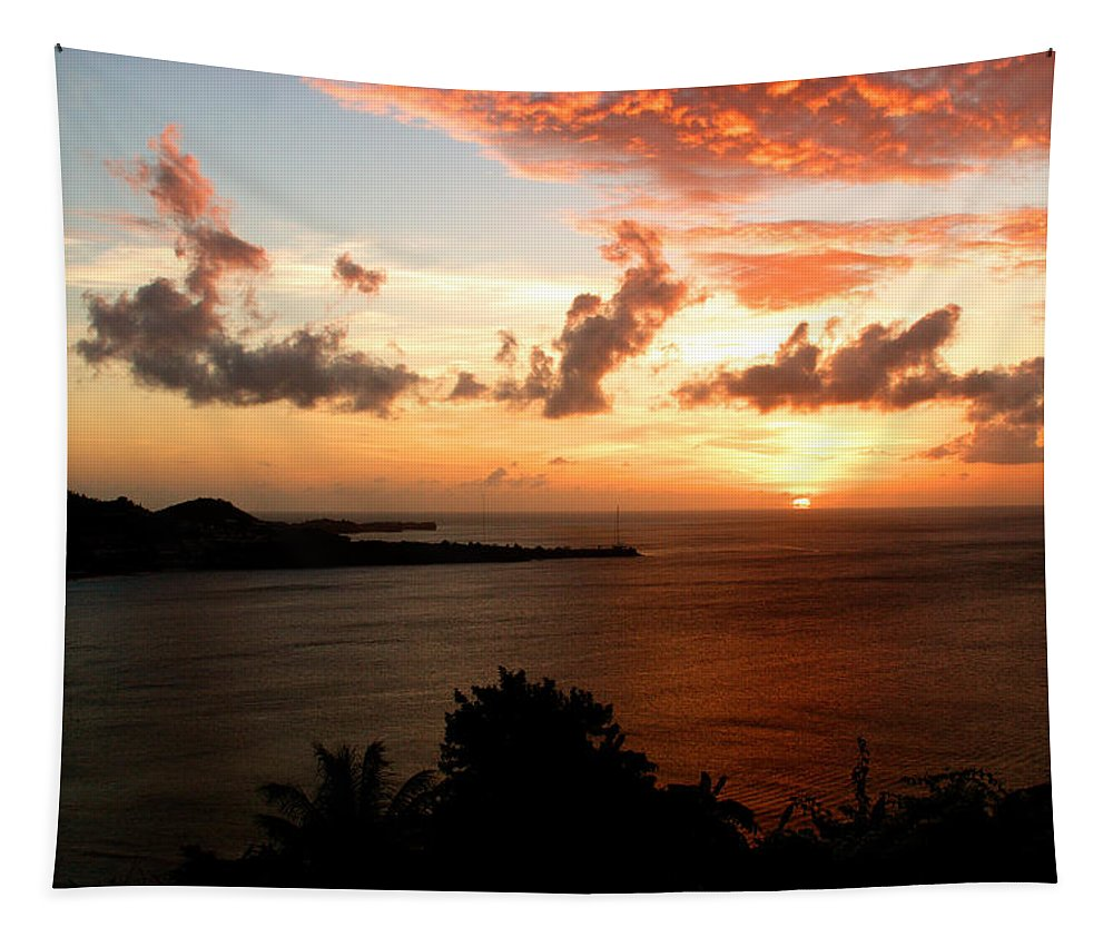 Sunset Tapestry featuring the photograph Grenadian Sunset II by Jean Macaluso