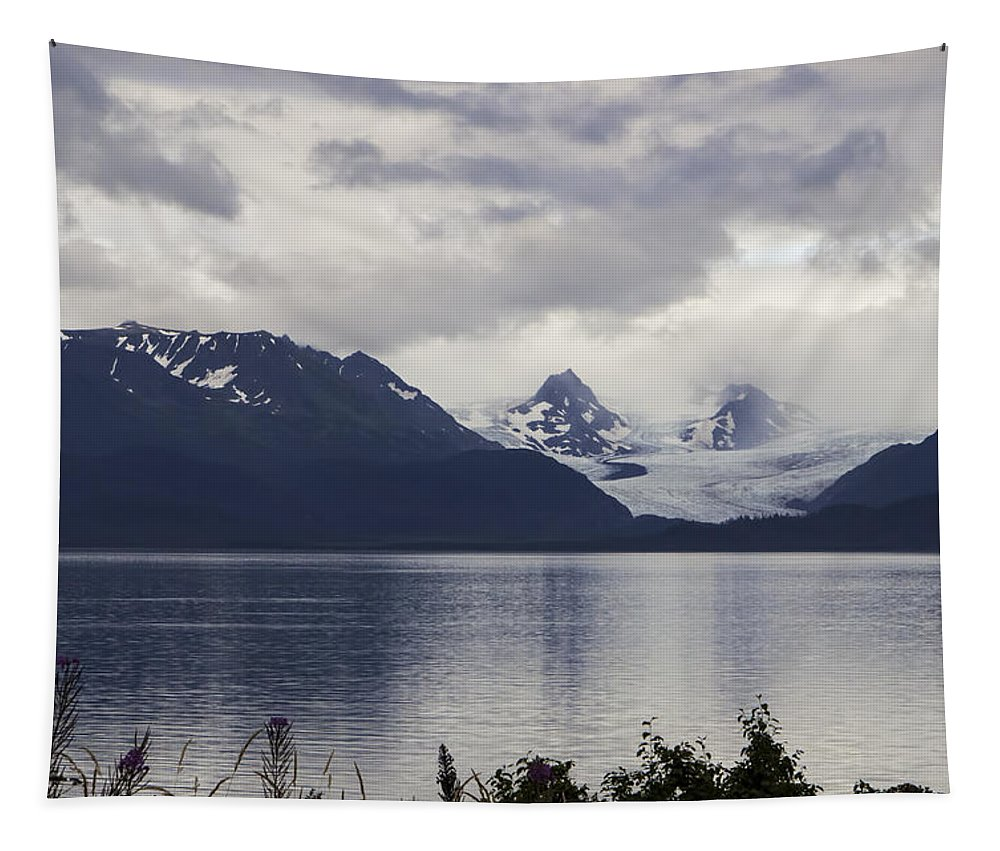 Grewingk Glacier Tapestry featuring the photograph Grewingk Glacier by Phyllis Taylor