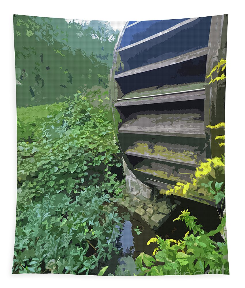 Landscape Abstract Tapestry featuring the painting Grist Mill Water Wheel Cape Cod by Sharon Eng