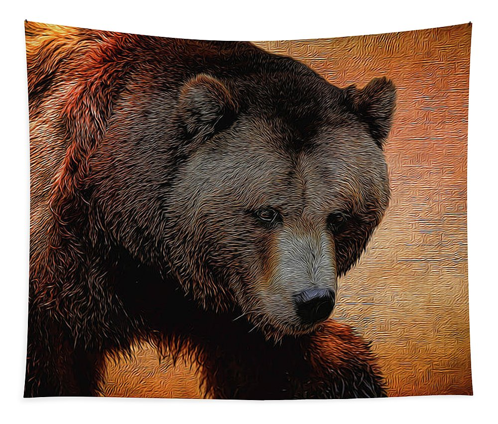 Grizzly Bear Tapestry featuring the photograph Grizzly Bear Painted by Judy Vincent
