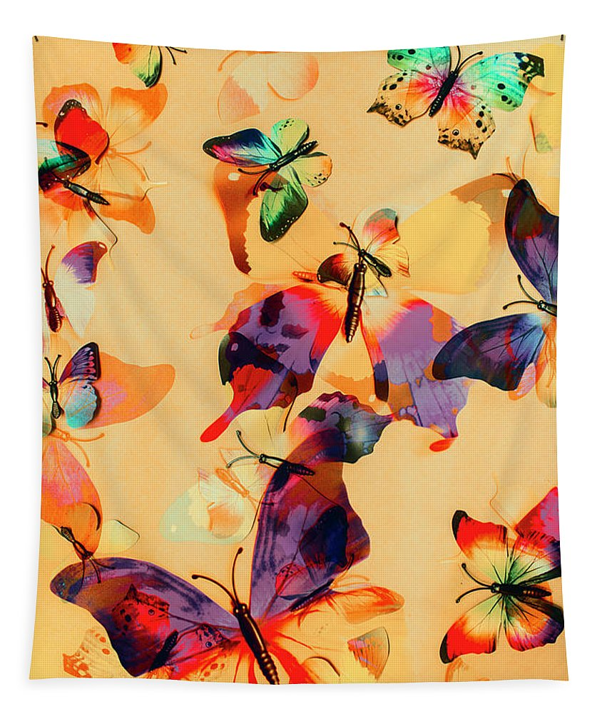 Background Tapestry featuring the photograph Group Of Butterflies With Colorful Wings by Jorgo Photography - Wall Art Gallery