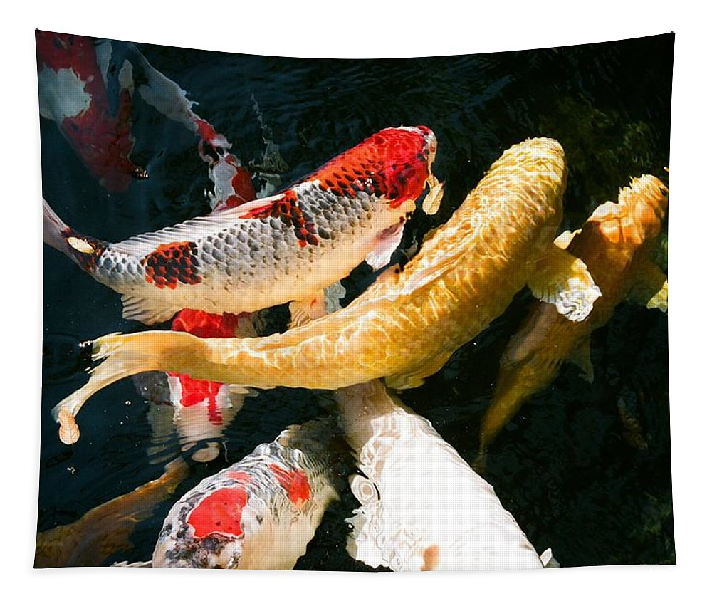 Fish Tapestry featuring the photograph Group of Koi Fish by Dean Triolo