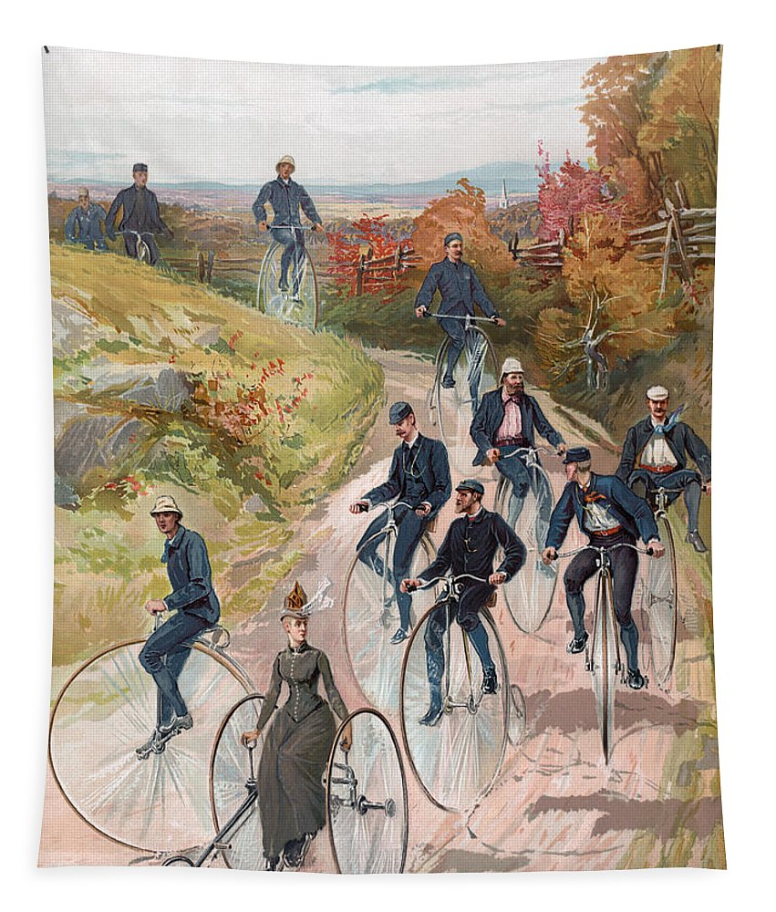 Cycle Tapestry featuring the painting Group Riding Penny Farthing Bicycles by American School