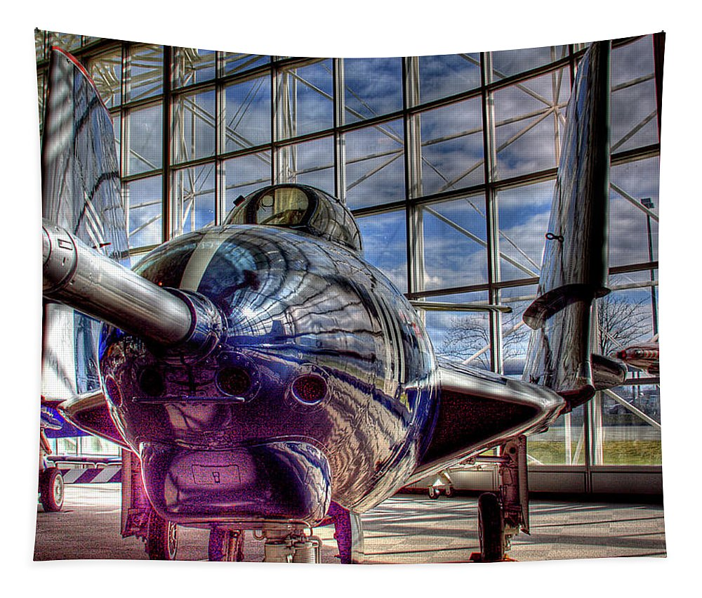 Jet Tapestry featuring the photograph Grumman F9f-8 Cougar by David Patterson