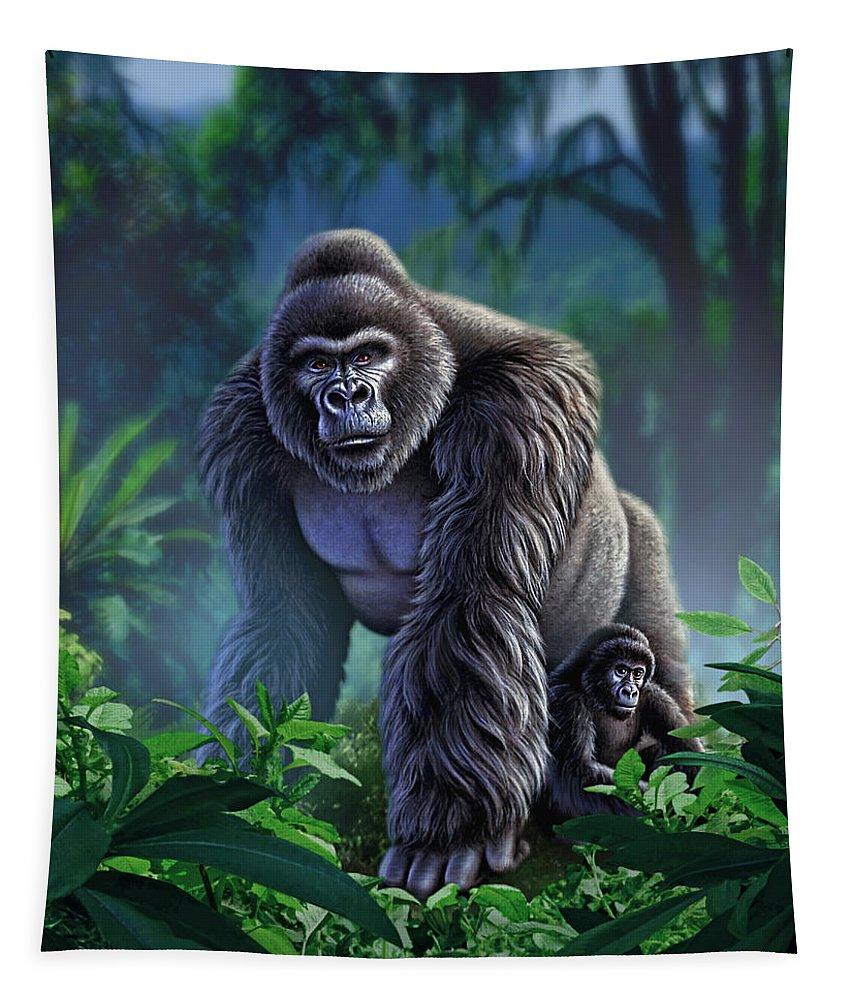 Gorilla Tapestry featuring the painting Guardian by Jerry LoFaro