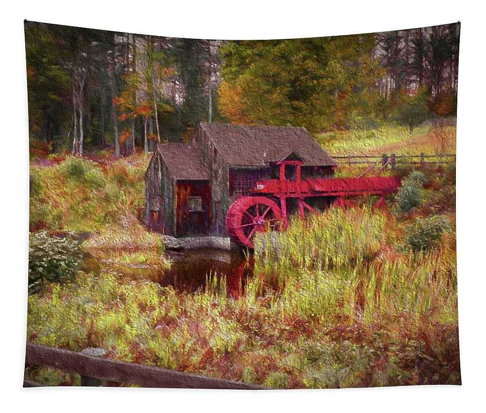 #jefffolger Tapestry featuring the photograph Guildhall Grist Mill In Fall by Jeff Folger