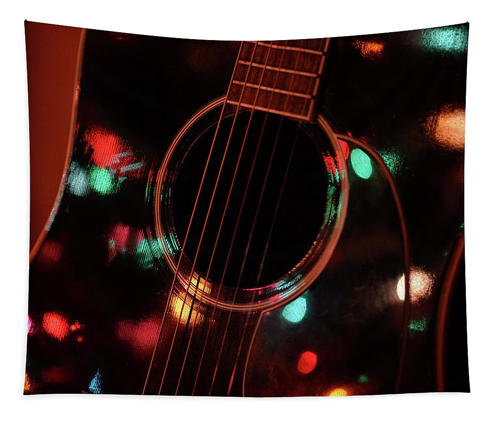 Guitar Tapestry featuring the photograph Guitar And Lights by Barbara Treaster