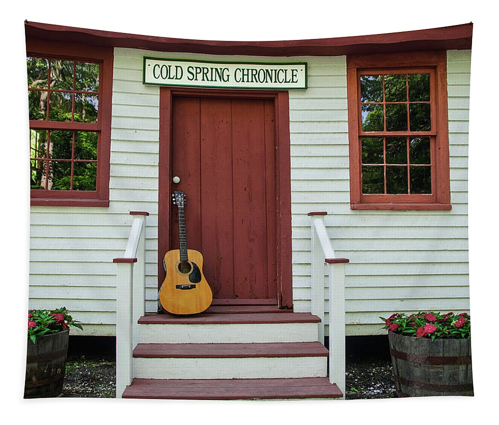 Guitar Tapestry featuring the photograph Guitar At Cold Spring Chronicle by Bill Cannon