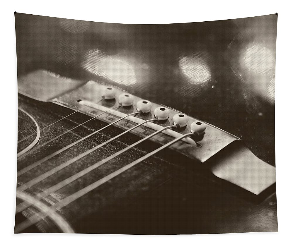 Strings Tapestry featuring the photograph Guitar Strings by Barbara Treaster