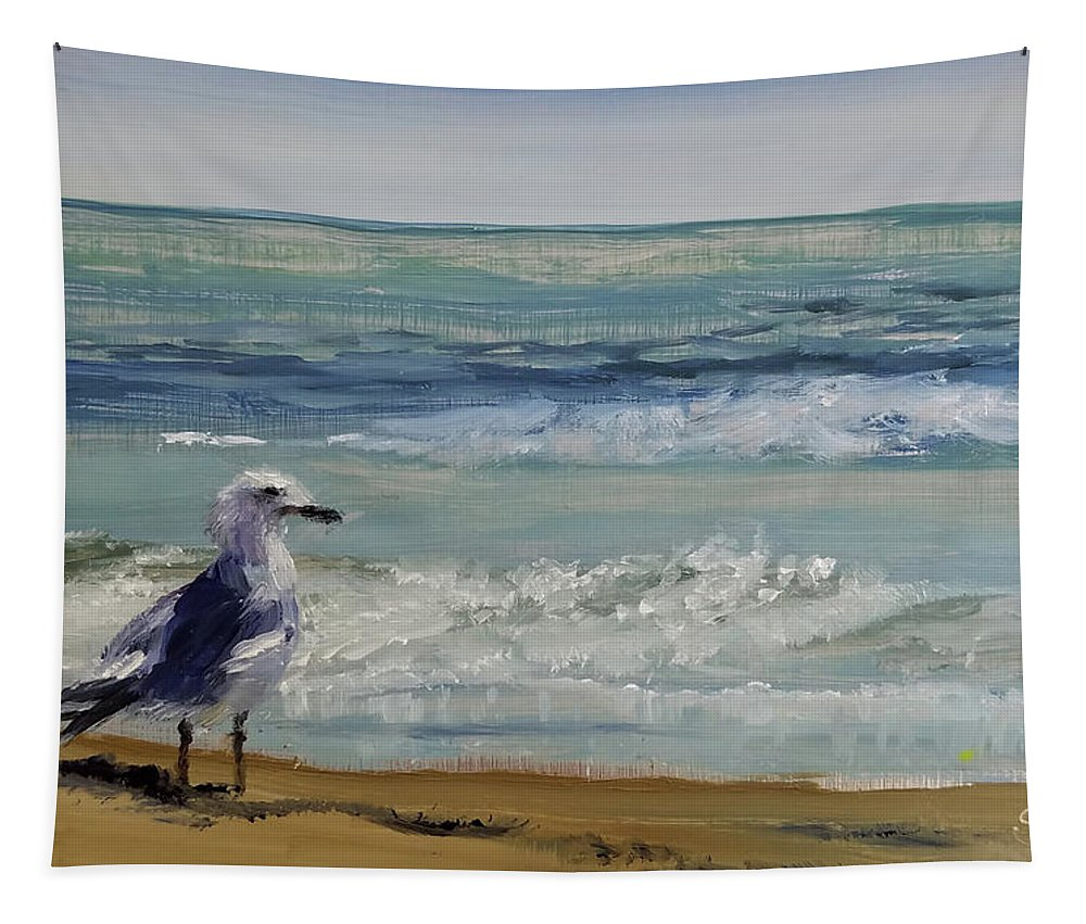 Sea Tapestry featuring the painting Gull by Susan Hanna