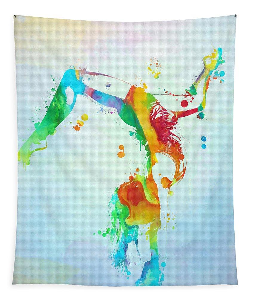 Gymnast Watercolor Paint Splatter Tapestry featuring the painting Gymnast Watercolor Paint Splatter by Dan Sproul