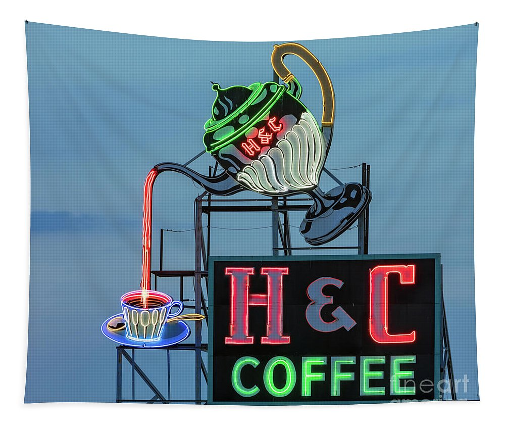 Advertise Tapestry featuring the photograph H And C Coffee by Jerry Fornarotto