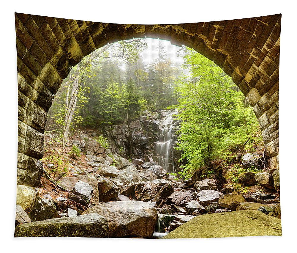 #jefffolger Tapestry featuring the photograph Hadlock Falls Under Carriage Road Arch by Jeff Folger