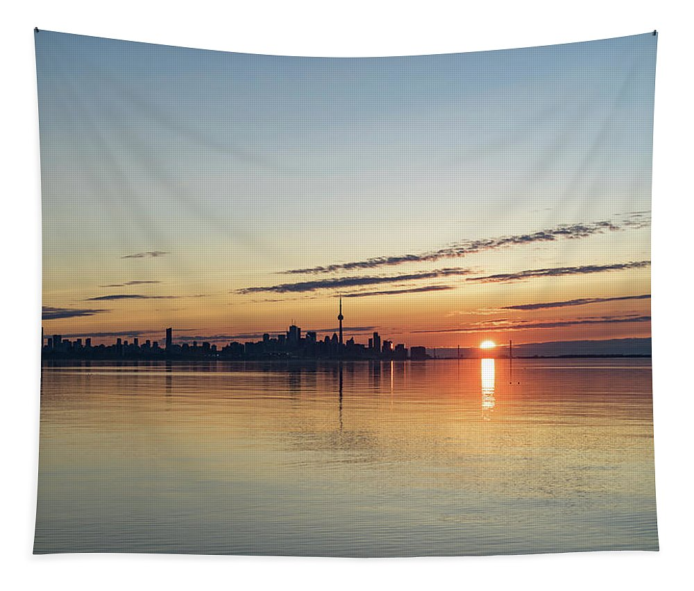 Georgia Mizuleva Tapestry featuring the photograph Half A Sunrise - Toronto Skyline From Across Silky Calm Lake Ontario by Georgia Mizuleva