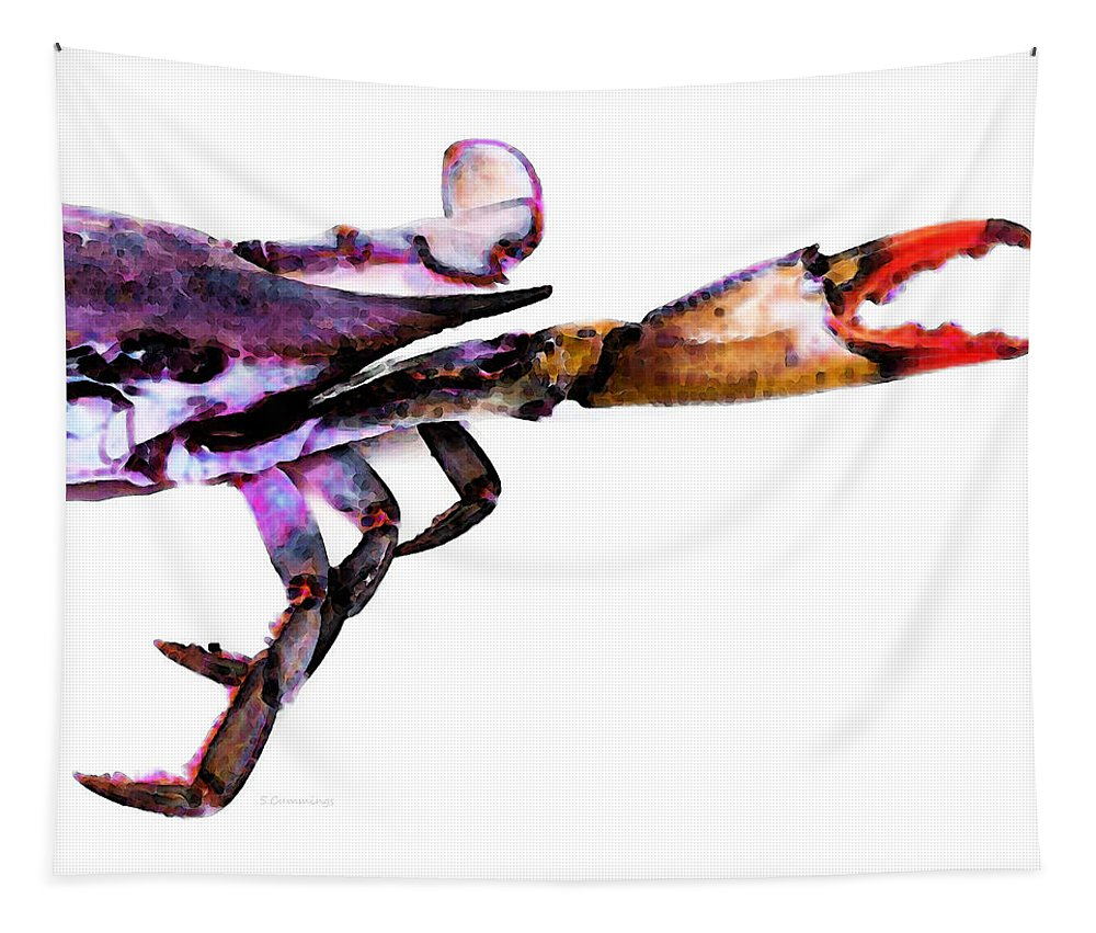 Crab Tapestry featuring the painting Half Crab - The Right Side by Sharon Cummings