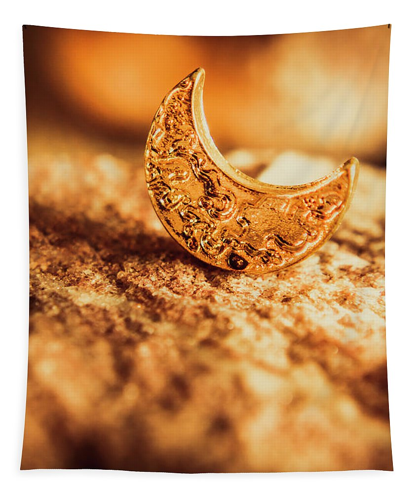 Moon Tapestry featuring the photograph Half Moon Crescent. Bedtime Scene by Jorgo Photography - Wall Art Gallery
