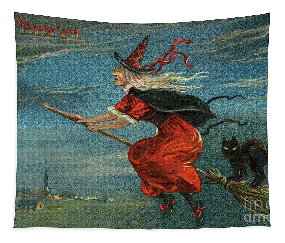 Witch Tapestry featuring the painting Halloween Witch And Black Cat Riding Broom At Night by American School