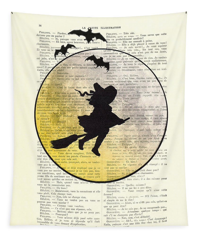 Halloween Tapestry featuring the digital art Witch Flying With Full Moon by Madame Memento