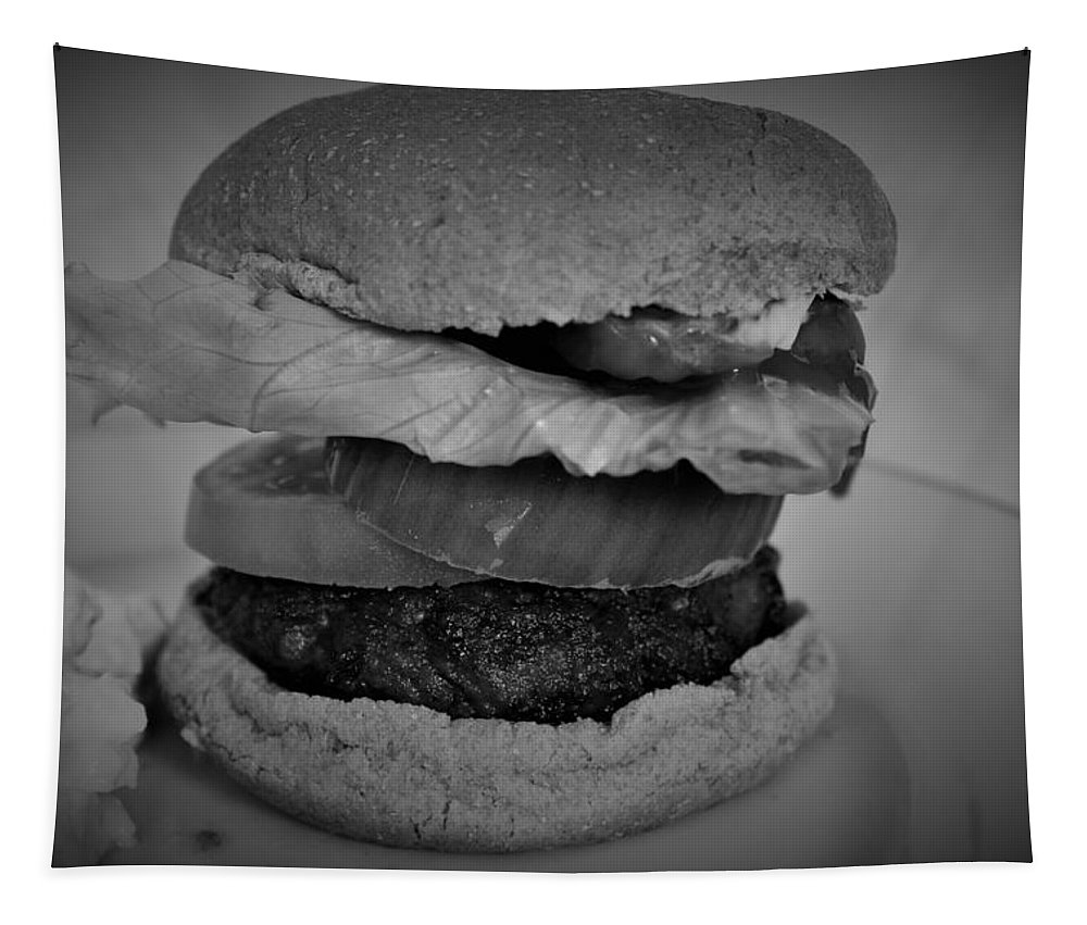 Food Tapestry featuring the photograph Hamburger And Potato Salad 4 by Christopher White