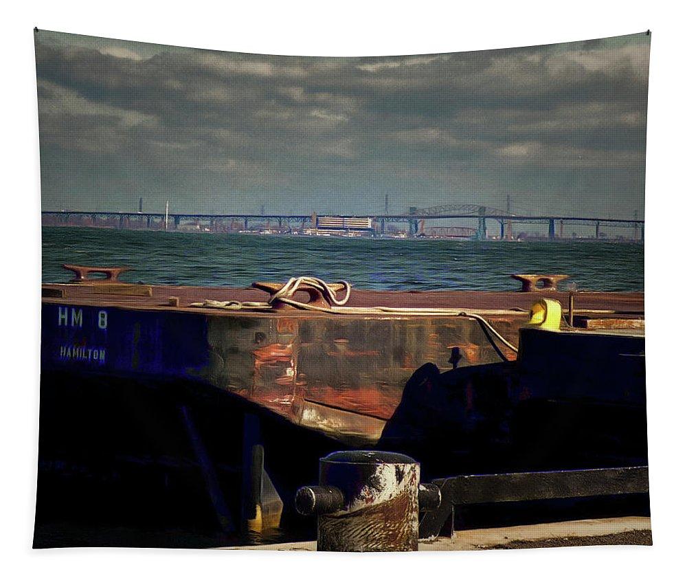 Hamilton Harbor Tapestry featuring the digital art Hamilton Harbor- Pier 8 by Leslie Montgomery
