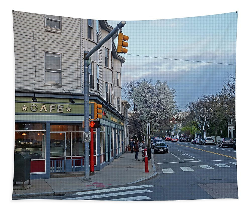 Hampshire Tapestry featuring the photograph Hampshire Cafe Hampshire Street Cambridge Ma by Toby McGuire