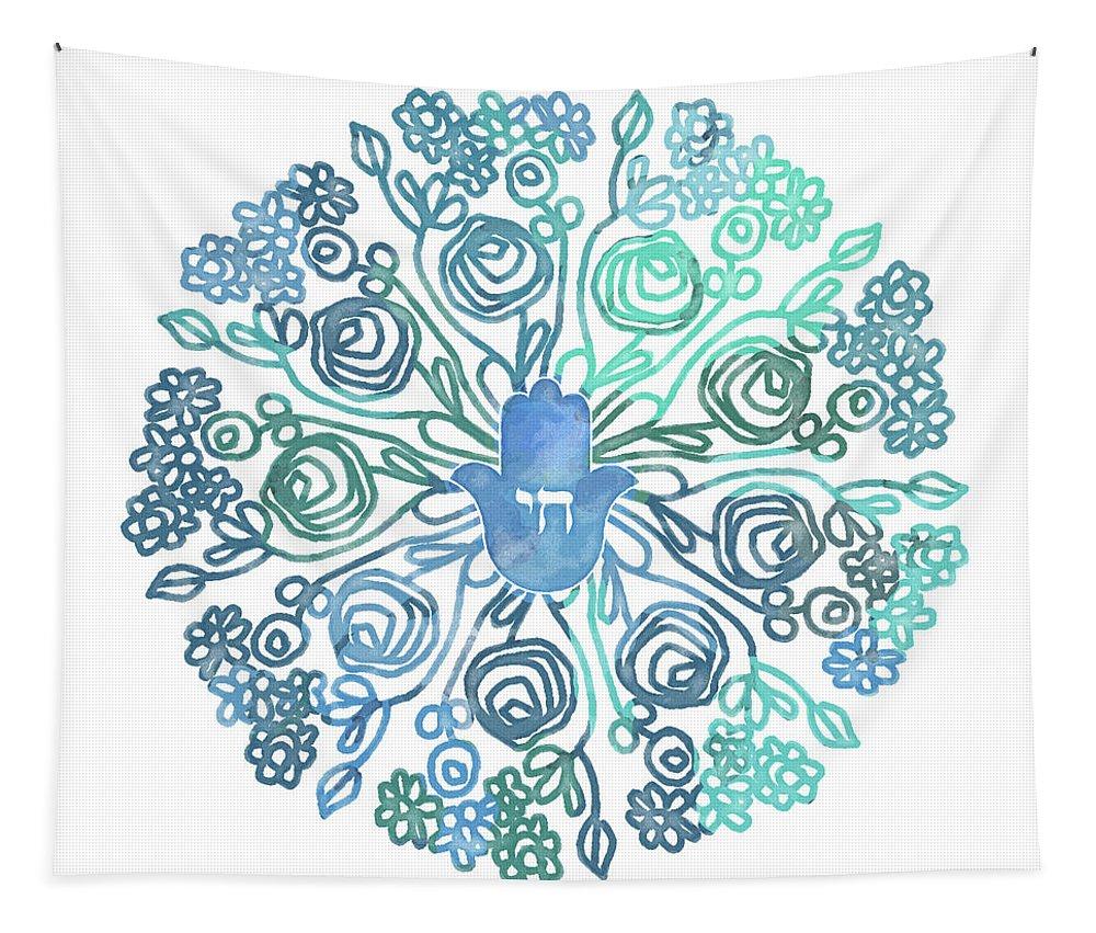 Hamsa Tapestry featuring the mixed media Hamsa Mandala 1- Art By Linda Woods by Linda Woods