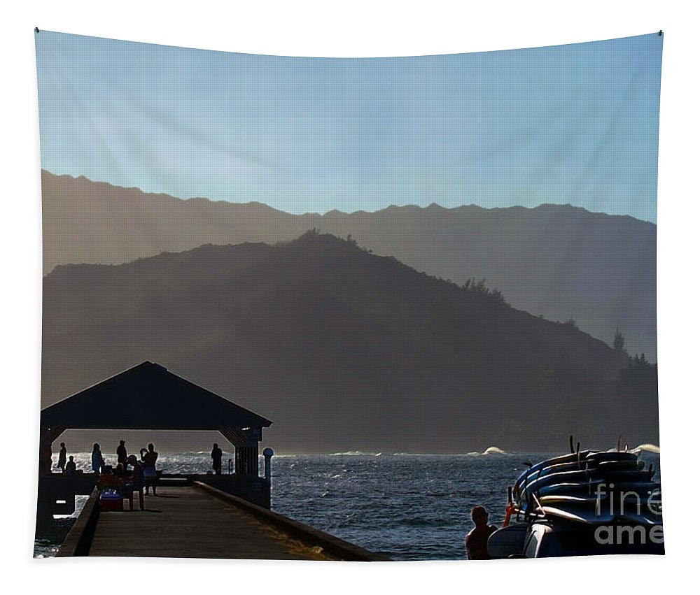 Hanalei Bay Tapestry featuring the photograph Hanalei Pier In Kauai by Catherine Sherman