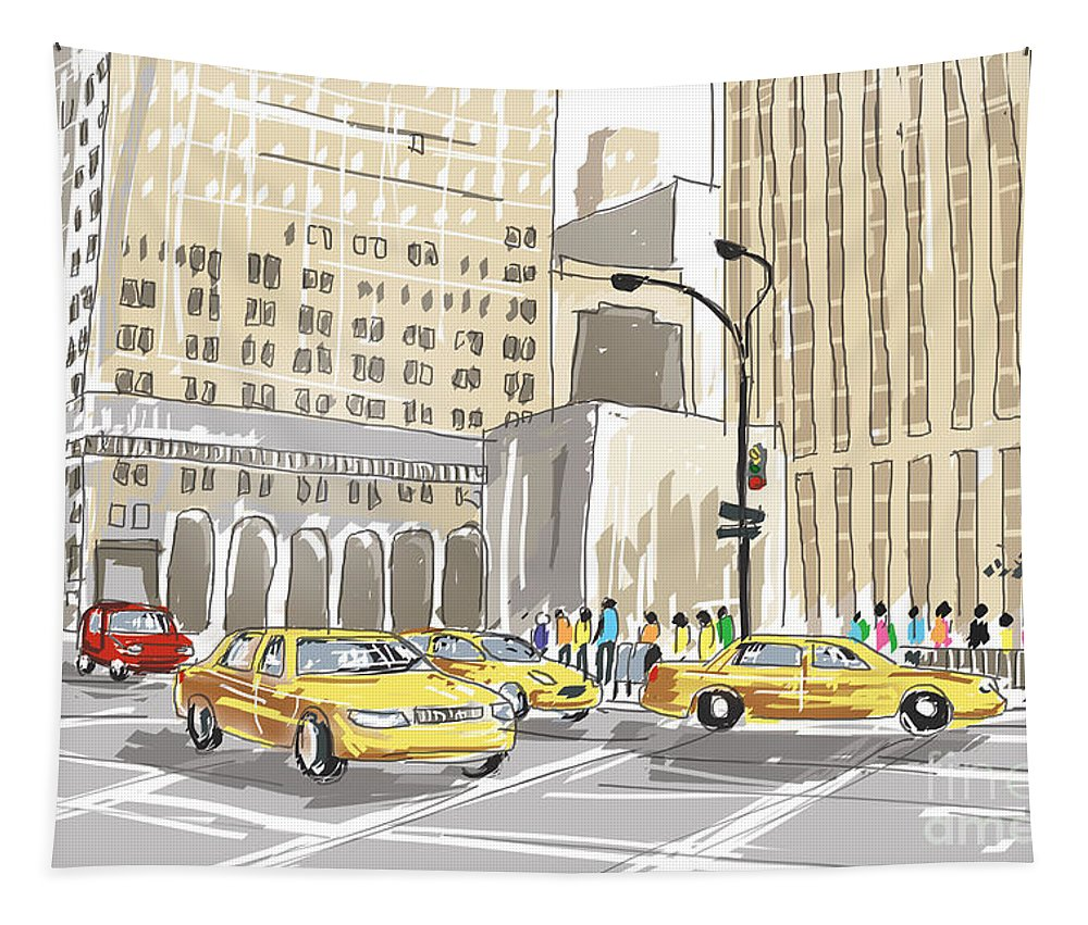 New Tapestry featuring the photograph Hand Drawn Sketch Of A Busy New York City Street by Jorgo Photography - Wall Art Gallery
