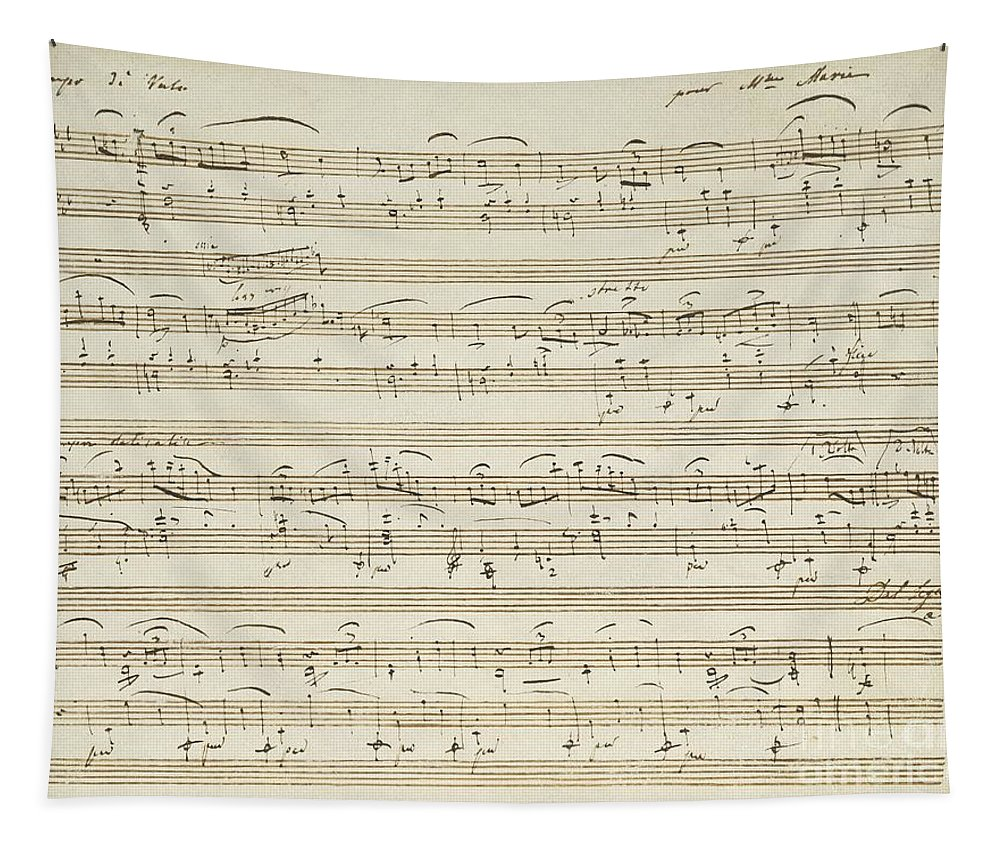 Chopin Tapestry featuring the drawing Handwritten Score For Waltz In Flat Major by Frederic Chopin