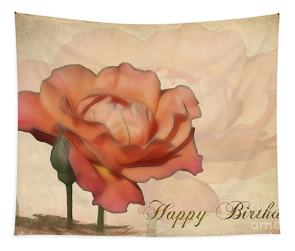 Flower Tapestry featuring the photograph Happy Birthday Peach Rose Card by Teresa Zieba
