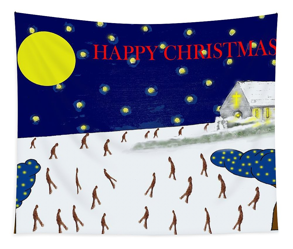 Christmas Tapestry featuring the painting Happy Christmas 27 by Patrick J Murphy