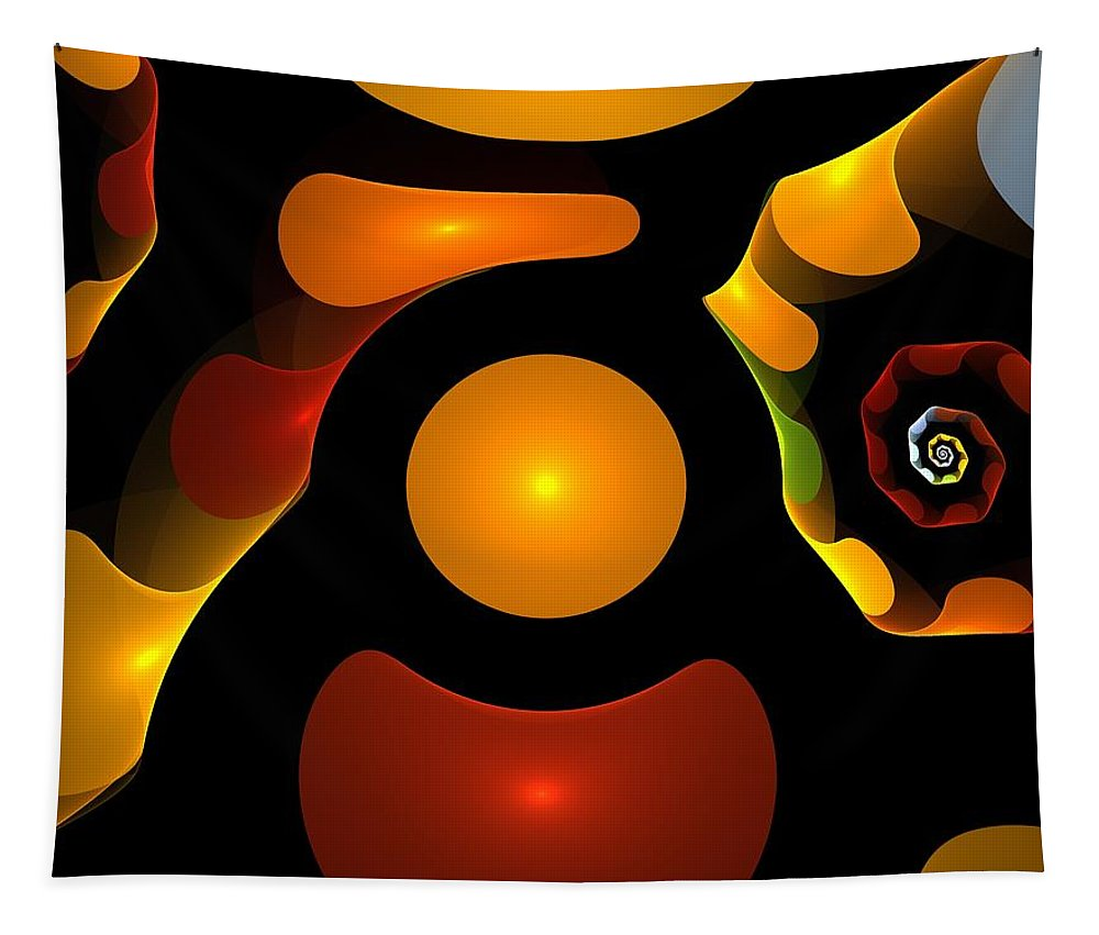 Abstract Tapestry featuring the painting Happy Digit by Steve K